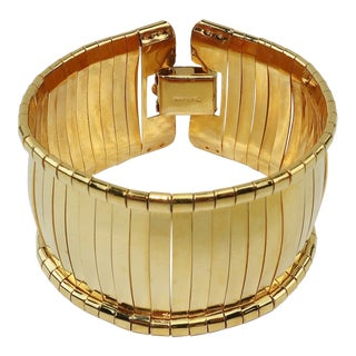 1960s Napier Gold Band Space Age Bangle Bracelet For Sale