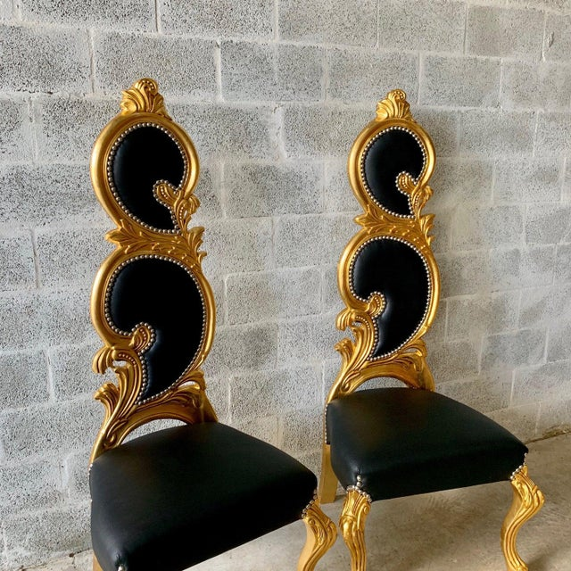 2010s Italian Baroque White Leather and Gold Leaf Finish Chairs- A Pair For Sale - Image 5 of 12
