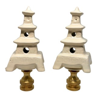 Ivory Porcelain Pagoda Lamp Finials Chinoiserie Home Decor Decorative Lighting Accessories For Sale