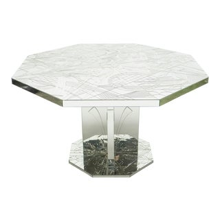 Rare Mirror Mosaic Dining Table Signed by Eugene C. 1980s For Sale