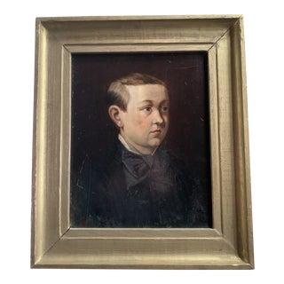 19th C. Oil on Wood Portrait For Sale