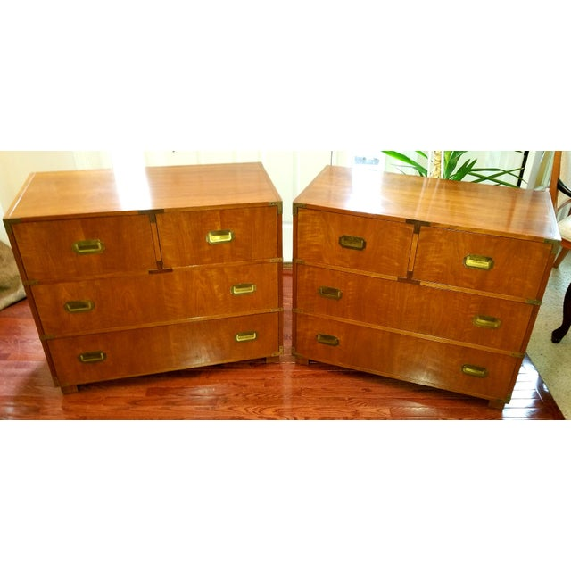 1980s Baker Furniture Campaign Chests - a Pair For Sale - Image 5 of 5