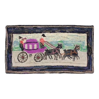 Pictorial Antique American Hooked Rug Horse & Buggy in Multi Colors For Sale