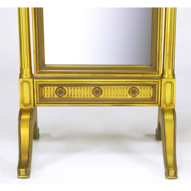 Gilt Wood Neoclassical Full Length Cheval Floor Mirror - Image 7 of 8