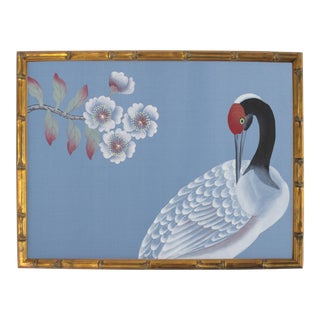White Crane Painting on Blue Silk For Sale