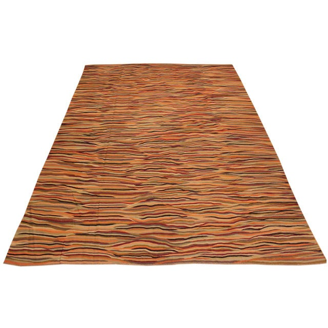 Modern Suk Ivory/Gold Hand-Woven Kilim Wool Rug -10'0 X 14'0 For Sale - Image 4 of 8