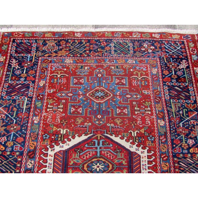 Textile 1920s, Handmade Antique Persian Heriz Rug 4.9' X 6.1' For Sale - Image 7 of 11