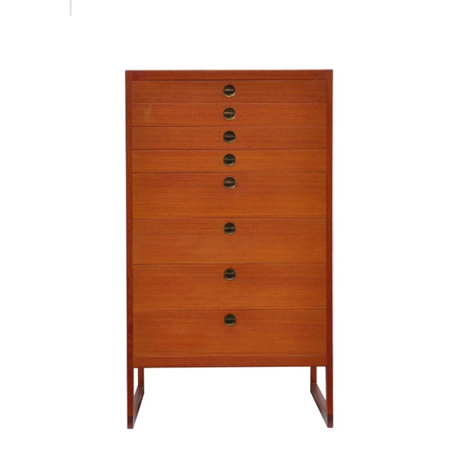 A sled base high chest of drawers by Borge Mogensen (1914-1972). Originally designed in 1957 and manufactured by P....