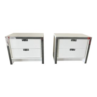 Vintage Chrome and White Night Tables - a Pair