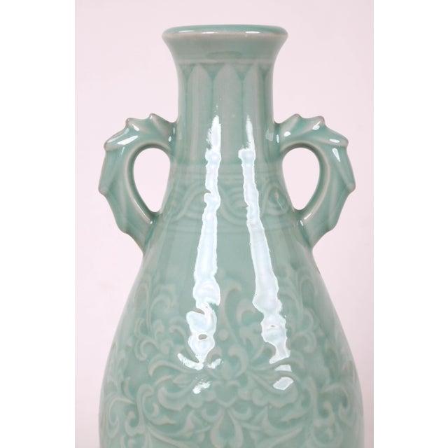 Vintage Celadon Pear Shaped Porcelain Vase For Sale - Image 4 of 13