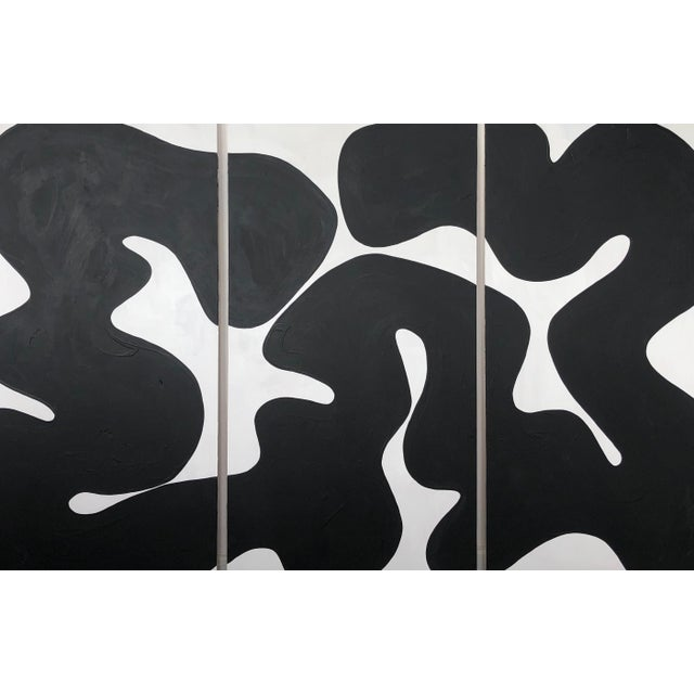 Hannah Polskin original 2019 black and white abstract acrylic painting on plywood. Organic motif with monochrome color...