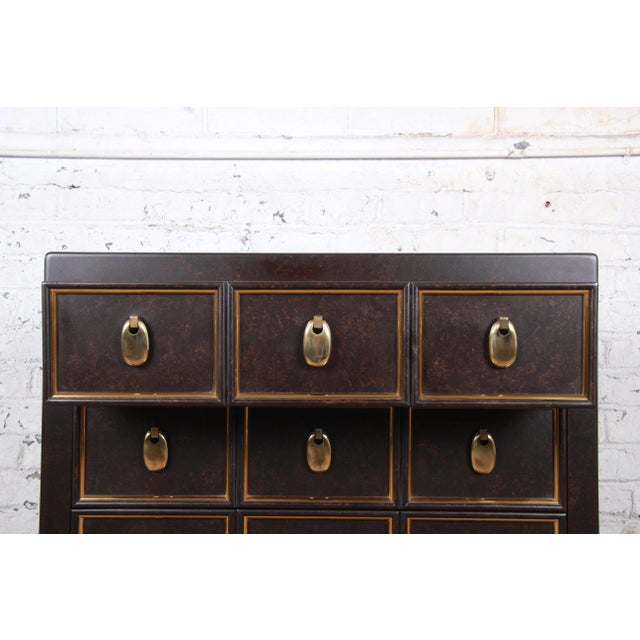 Metal Mastercraft Hollywood Regency Chinoiserie Faux Tortoise Shell and Brass Chest of Drawers For Sale - Image 7 of 13
