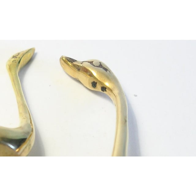 Cottage Brass Swan Figurines - A Pair For Sale - Image 3 of 4