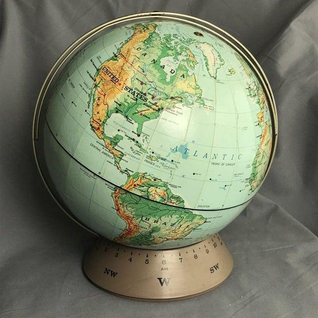 Blue Vintage 1967 Rand McNally & Co World Globe Randmark III on Base W/ Time Line For Sale - Image 8 of 8