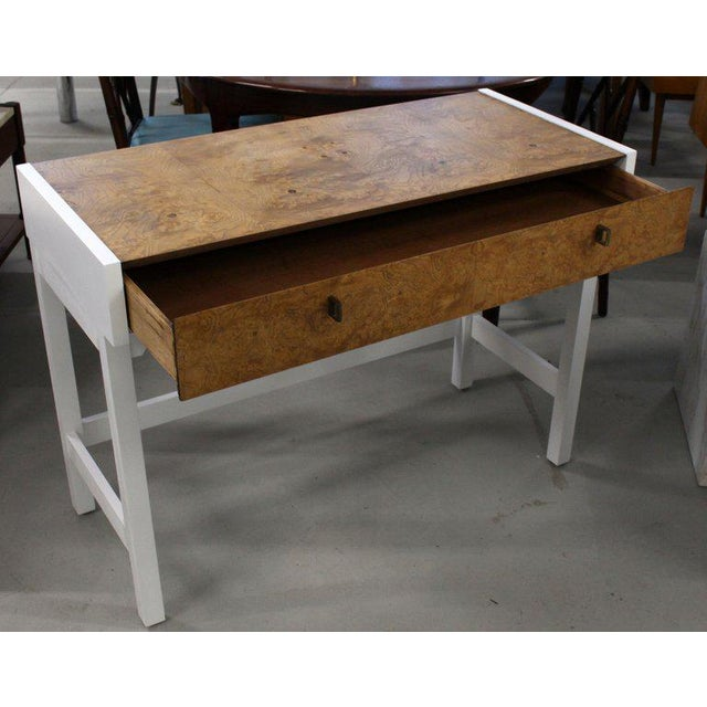 Century Furniture White Lacquer Burl Wood Top Petit Desk Console Hall Table For Sale - Image 4 of 7