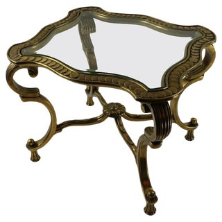Rococo Style Brass and Glass Side Table Attributed to Mastercraft For Sale