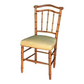 Faux Bamboo Chair with Silk Upholstered Seat For Sale