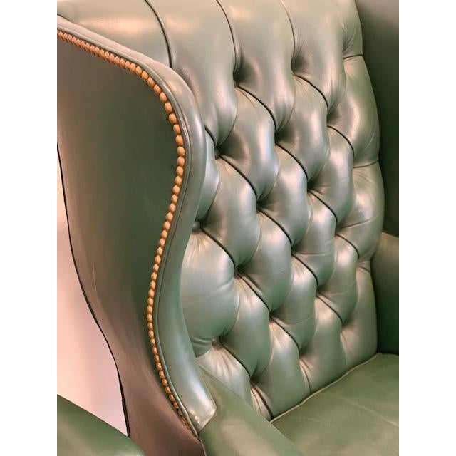 Vintage Mid Century Hancock & Moore Emerald Green Leather Wing Chairs- A Pair For Sale In Kansas City - Image 6 of 10