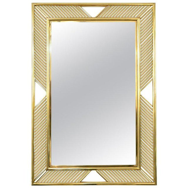 Contemporary Minimalist Italian Gold Brass Mirror With Modern Baguette Fretwork For Sale In New York - Image 6 of 6