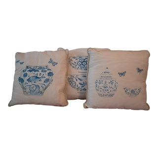 Asian Antique Hand Painted Pillows - Set of 3 For Sale