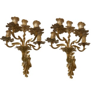 19th Century Antique French Rococo Gilded Bronze Wall Candelabra Sconces - A Pair For Sale