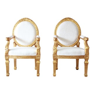 French Empire Style Giltwood Armchairs, A Pair For Sale