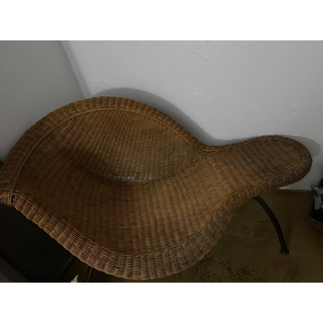 Vintage Modern Wicker Chaise Lounge For Sale - Image 6 of 8