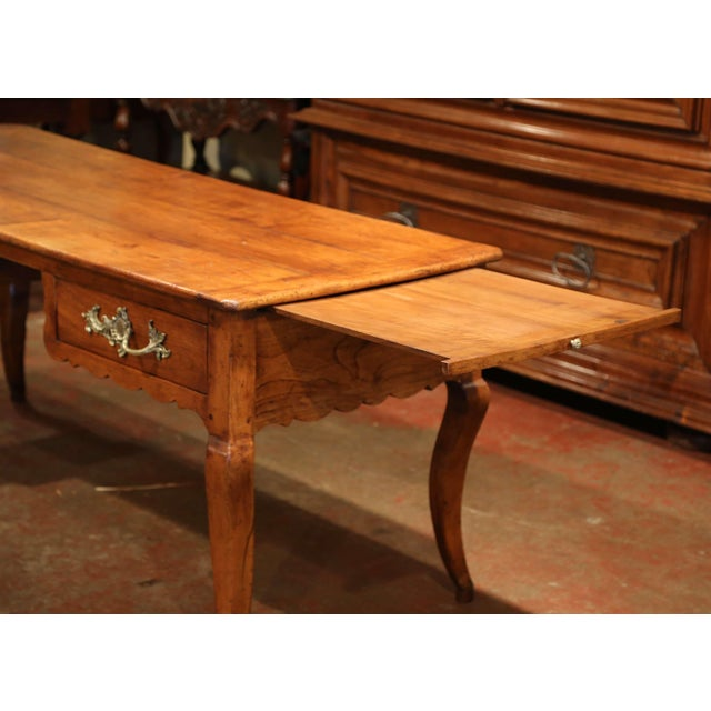 18th Century French Louis XV Carved Cherry Desk With Drawers and Pullout Trays For Sale - Image 11 of 13