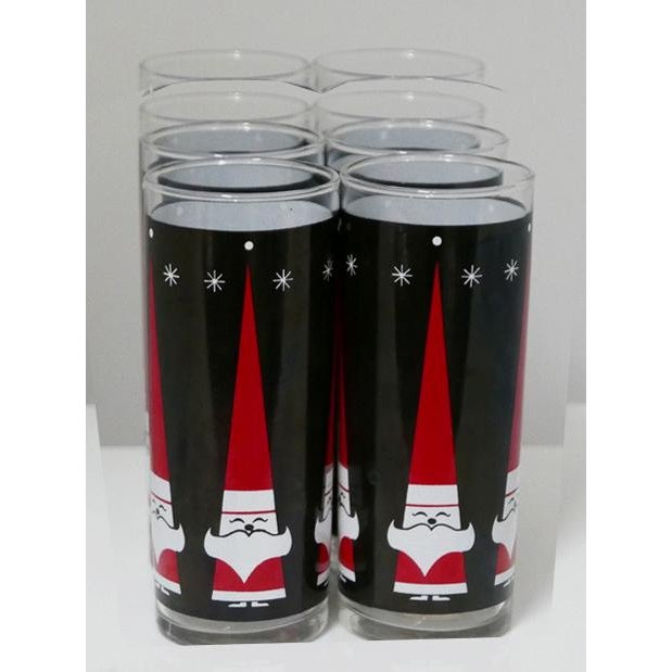 1960s Vintage Libbey Holt-Howard Santa Christmas Glass Tumblers Set of 8 For Sale - Image 5 of 5