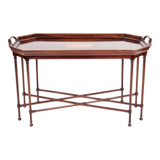 Mahogany Wood Tray Table With Side Handles For Sale