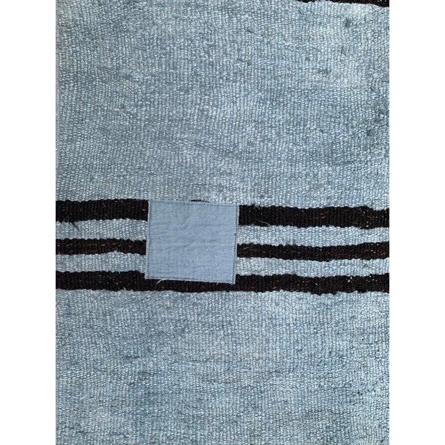 Mid 20th Century Vintage Blue & Brown Stripe Hemp Runner-3′6″ × 9′2″ For Sale - Image 4 of 8