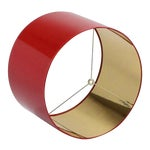 Large High Gloss Red Drum Lamp Shade With Gold Lining