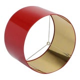 Image of Large High Gloss Red Drum Lamp Shade With Gold Lining For Sale
