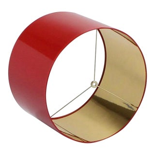 Large High Gloss Red Drum Lamp Shade With Gold Lining For Sale