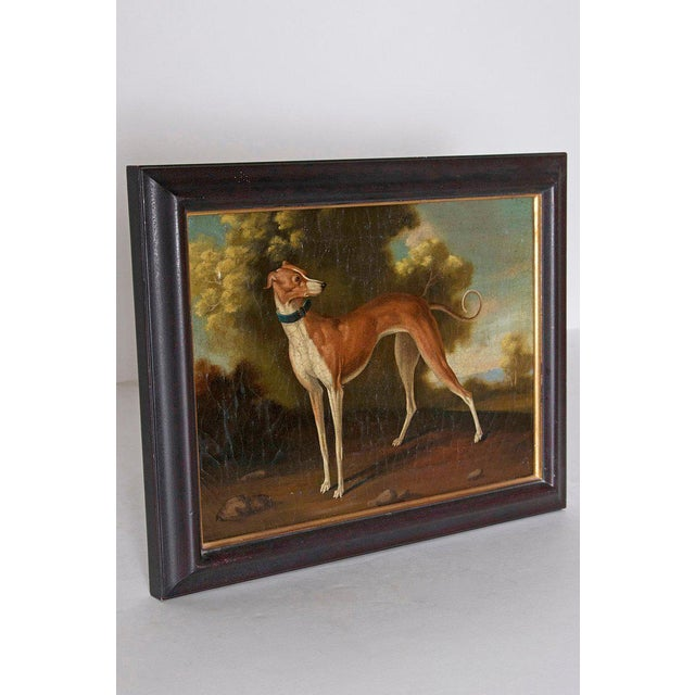 Traditional 19th Century English Oil on Canvas of Whippet in a Landscape For Sale - Image 3 of 13