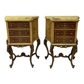 1940s Vintage French Painted Side Tables- A Pair For Sale