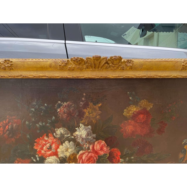 Canvas 19th Century French Still Life Flower Oil Painting in Carved Gilt Frame For Sale - Image 7 of 13