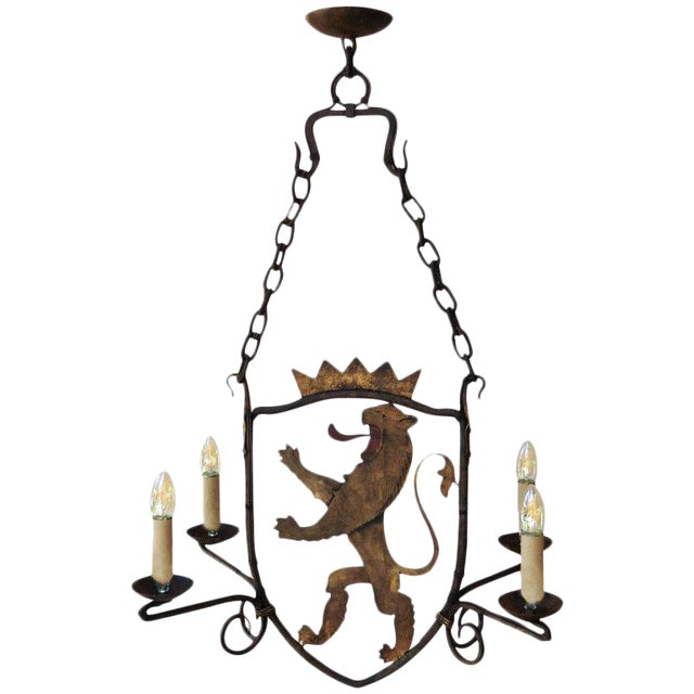 French Iron and Painted Tole Lion Chandelier, Circa 1900 - Image 1 of 4
