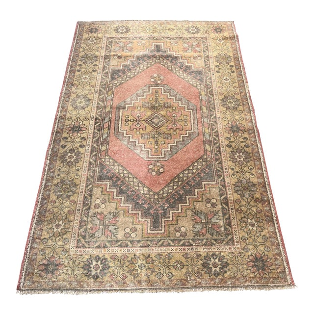 Handwoven Antique Turkish Wool Rug - 3′7″ × 5′11″ For Sale