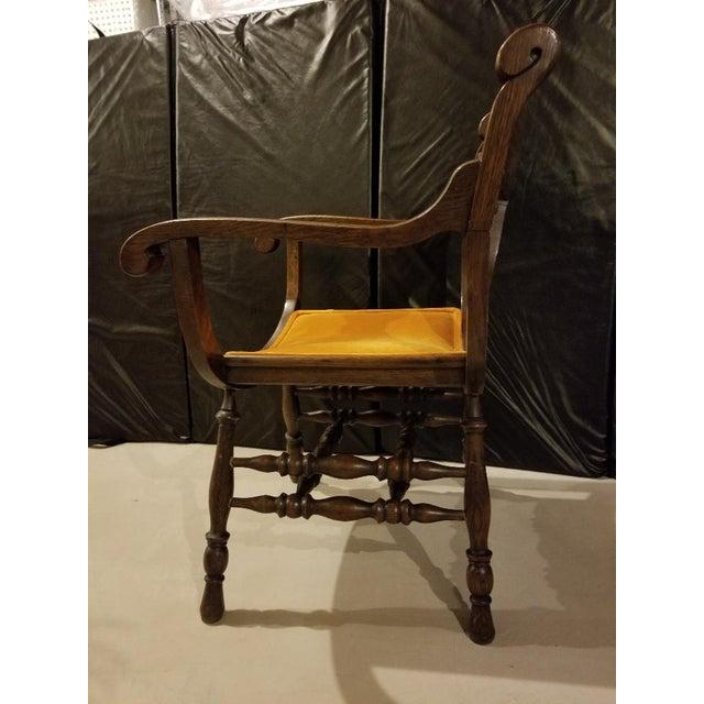 Orange Vintage Mid-Century Curule Arm Chair For Sale - Image 8 of 11