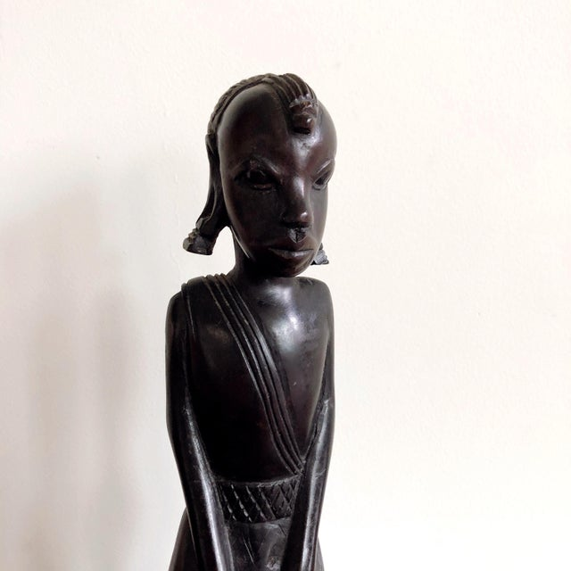 African Kenyan Onyx Wood Female Figure Statue For Sale - Image 3 of 8