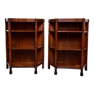 Pair Early 20th Century Italian Walnut Etageres For Sale