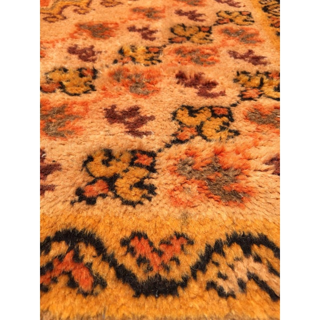 Vintage Mid Century Moroccan Orange Tribal African Pile Rug- 6′7″ × 16′5″ For Sale - Image 11 of 12