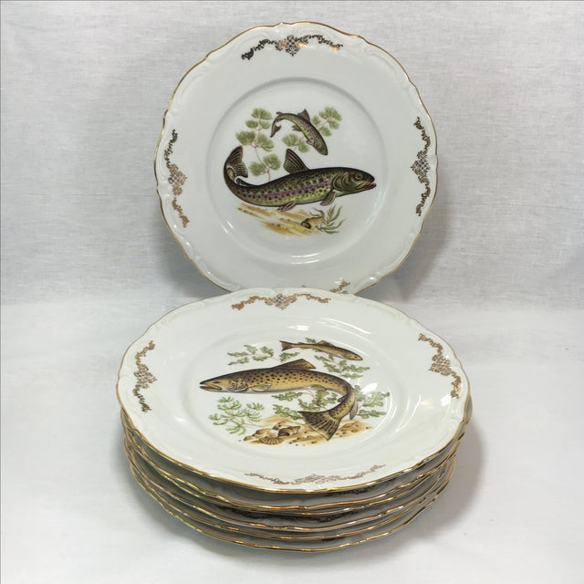 Winterling china of Bavaria. Very rare vintage fish pattern with gold filigree. Set of 7. There are two of each pattern of...