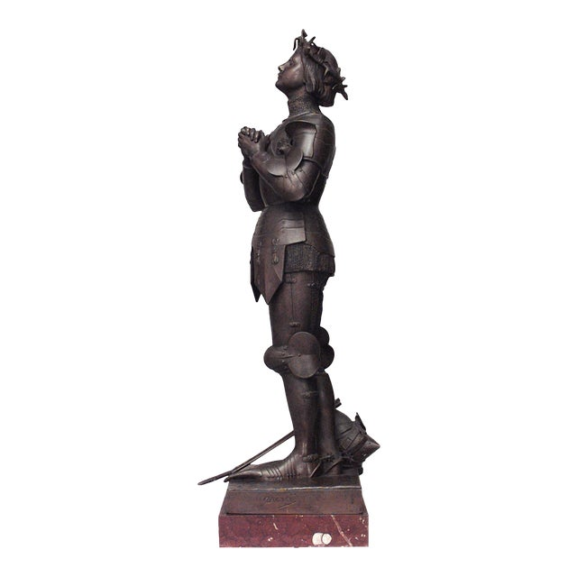French Patinated Metal Joan of Arc Figure by Mercie For Sale