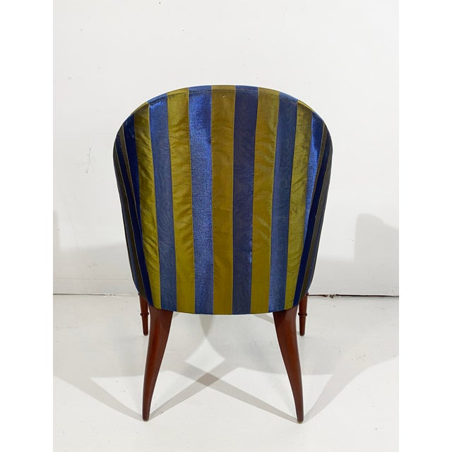 Donghia Elegant Upholstered Accent Chair With Turned Legs Attributed to Donghia For Sale - Image 4 of 10