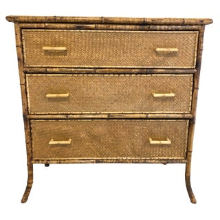 Antique 1900s English Tiger Bamboo With Ricemat Covering Chest of Drawers For Sale