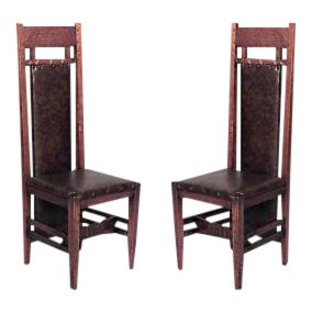 American Mission Oak and Leather Side Chairs- A Pair For Sale