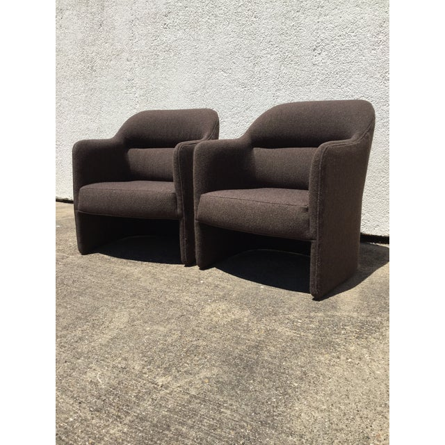 1980s Vintage Milo Baughman for Thayer Coggin Barrel Back Tub Accent Chairs- A Pair For Sale - Image 12 of 12