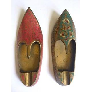 Vintage Mid Century India Cast Brass Incised Enamel Shoes Incense Burner Ashtrays - Set of 2 Preview